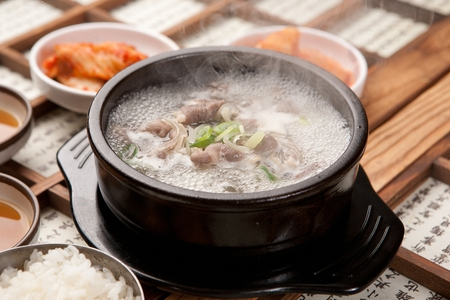 Korean cuisine Gom tang, beef bone soup in clear broth