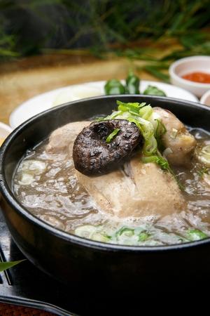 Korean cuisine Samgaetang, ginseng chicken soup with mushrooms