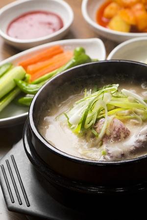 Korean cuisine samgaetang, ginseng chicken soup with black rice