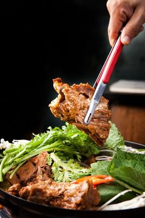 Korean cuisine Gamja tang, spicy pork bone stew with potatoes