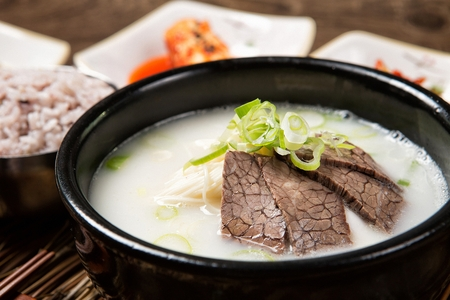 Korean cuisine Seolleongtang, broth made from ox bones, brisket and other cuts