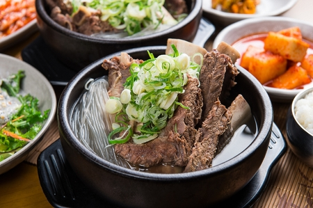 Korean cuisine Galbi tang, braised ribs stew with radish and potatoes