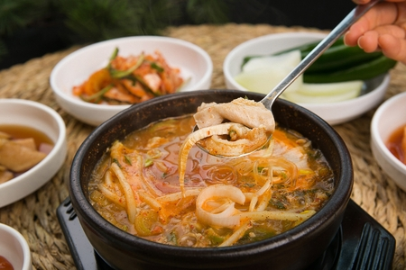 Spicy Korean style beef tripe and intestine soup called Naejang Tang