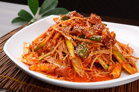Steamed and braised dried pollocks served with bean sprouts Stock Photo