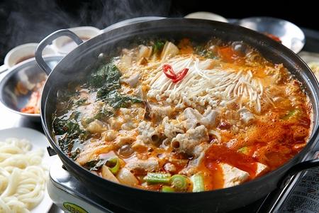 Beef tripe hot pot, Korean cuisine Gopchang Jeongol Stok Fotoğraf