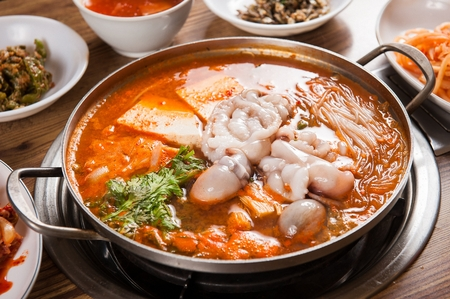 Seafood hot pot, Korean cuisine Jeongol