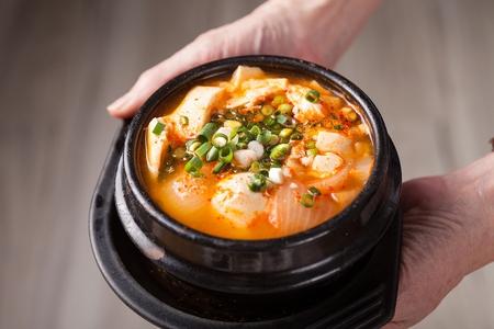 Spicy soft tofu stew, Korean cuisine Sundubu Jjigae