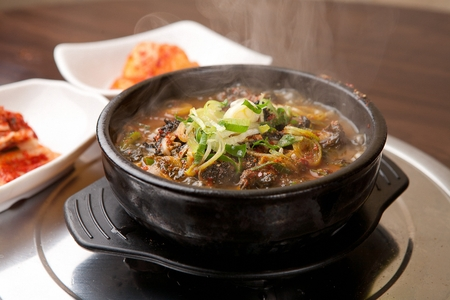 Spicy hangover soup with vegetables and perilla leaf, Korean cuisine Haejangguk