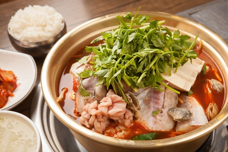 Spicy frozen pollocks hot pot, Korean cuisine Dongtae Jeongol