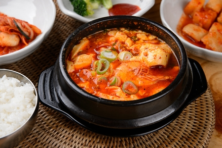 Spicy soft tofu stew, Korean cuisine Sundubu Jjigae