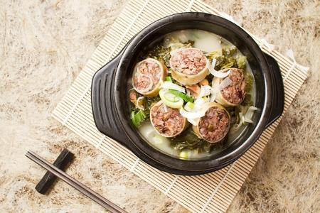 Korean sausages soup with cabbage leaves, Korean cuisine Ugeoji Sundaeguk