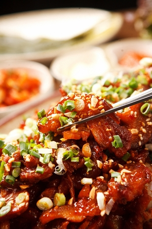 Korean cuisine bossam, spicy boiled pigs' feet Reklamní fotografie