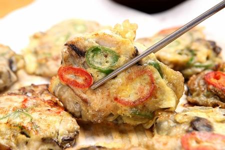 Oyster pancakes, Korean cuisine Jeon 스톡 콘텐츠