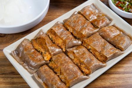 Buckwheat crepe, Korean cuisine Jeonbyeong 版權商用圖片