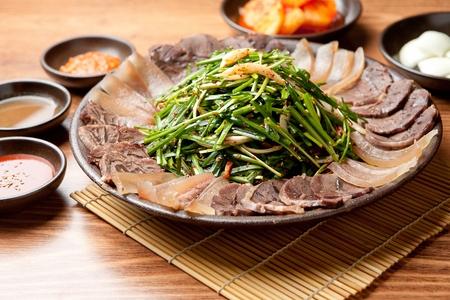 Korean cuisine suyuk, boiled beef or pork slices