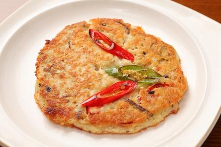 Mung bean pancakes, Korean cuisine Jeon 스톡 콘텐츠