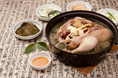 Korean cuisine duck baeksuk, Boiled duck soup with Korean medicinal herbs