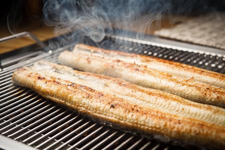 Anguilles grillées Banque d'images