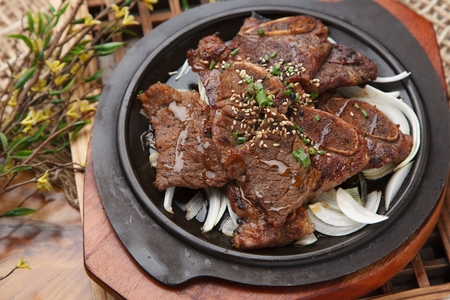 Korean-style braised short ribs, LA Galbi barbecued on grill pan