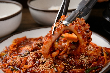 Stir-fried small octopus, Korean spicy cuisine 스톡 콘텐츠