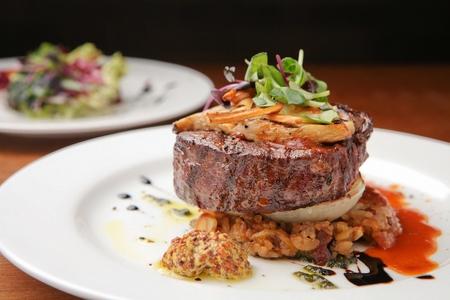 biefstuk met rijst, ossenhaas, lekker eten Stockfoto