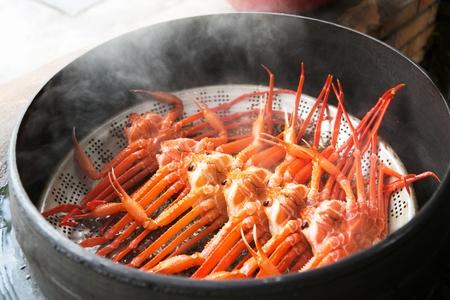 steamed snow crabs Standard-Bild