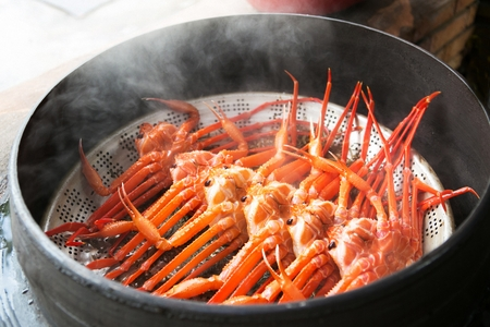 steamed snow crabs Stock Photo