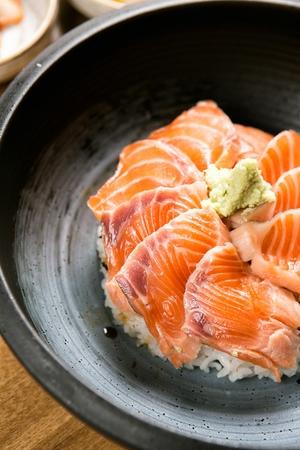 Salmon donburi Stock Photo