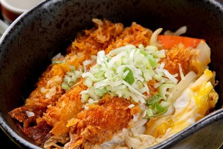 Ebi donburi (tempura rice bowl) Stock Photo