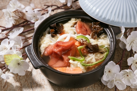 Pollack spawn and egg nabe, Japanese hot pot soup Stock Photo