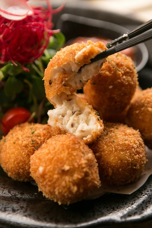 Fried mashed potatoes and meat, croquette
