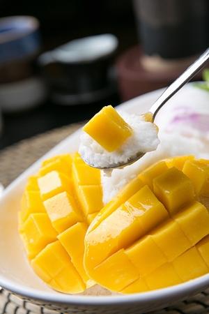 Korean bingsu, mango ice flakes with syrup