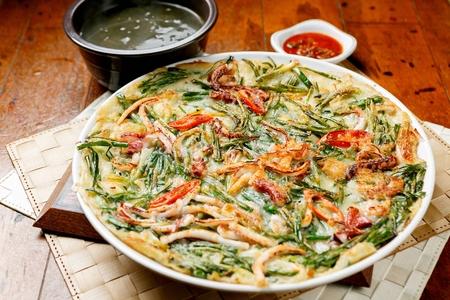 Korean seafood green onion pancakes, Jeon