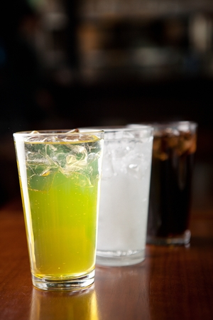 various soft drinks, carbonated drinks such as coke and cider