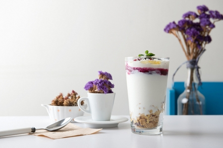 frozen yogurt with berries and mint with dried flowers in the background