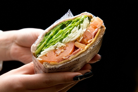 whole weat sandwich with cheese, ham, tomato, cabbage and lettuce