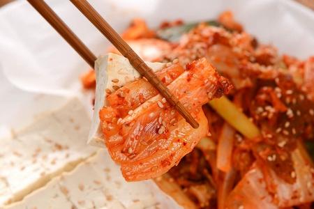 Tofu served with kimchi
