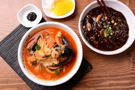 Chinese style noodles with vegetables and spicy soup and seafood, Seafood Jjambbong