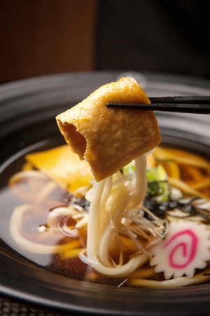 Thick japanese style noodles (udon)