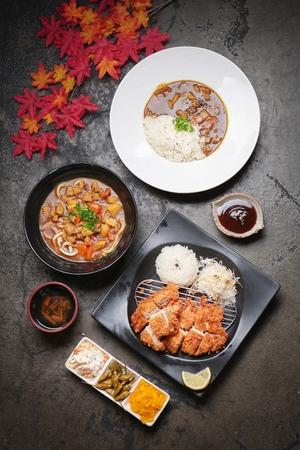 Japanese set menu, curry rice, curry noodles, donkatsu Zdjęcie Seryjne