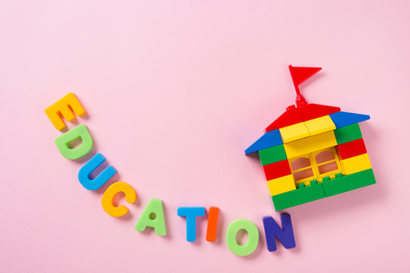 Education objects. study for childrens. numbers, words of Korean, words of English, bricks 110 Stock Photo