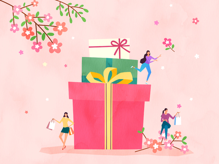 Spring and Summer season shopping event for mobile and web vector illustration design with colorful background. 001
