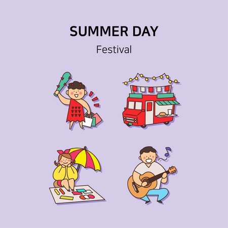 Set of icons for summer vector illustration. cute character flat style with colorful background. 029