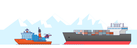 International Freight Transportation by sea, air, rail and road. all kinds of logistic vector illustration. 009 Illustration
