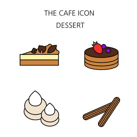 Foto de archivo - Conjunto de iconos planos de café. Cafetería Cafetería con Dulces Servicio Minorista Panadería. 035 Ilustración de vector