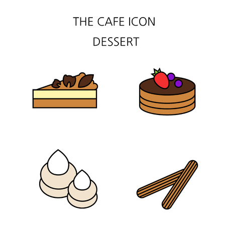 Vector - Coffee flat icon set. coffee equipment cafe with sweets retail service bakery. 035