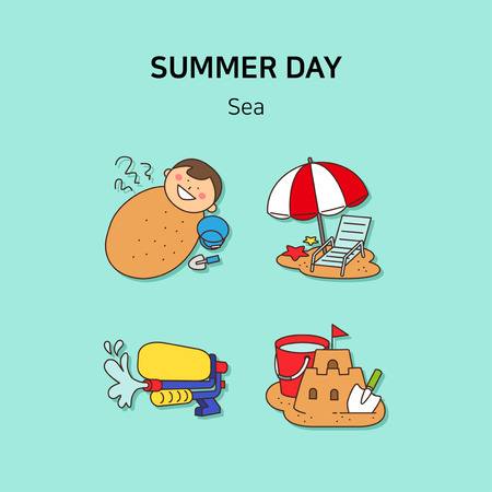 Set of icons for summer vector illustration. cute character flat style with colorful background. 004 Illustration