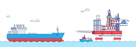 International Freight Transportation by sea, air, rail and road. all kinds of logistic vector illustration. 007