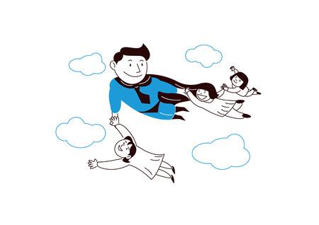 Verzekering. Een man die het symbool van verzekering is, beschermt familie op een witte achtergrond. vector illustratie. 008