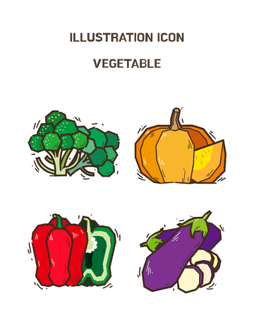 Vector - fruit and vegetable icon set for healthy food on white background 005 Иллюстрация